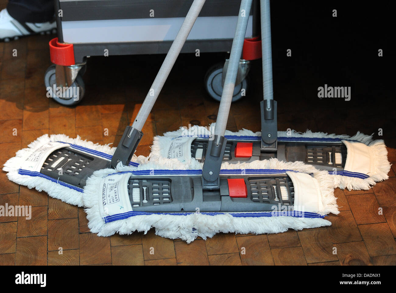 FILE - The archive illustration dated 08 April 2010 shows cleaning mops leaning at a cleaning cart in Berlin, Germany. - Stock Image