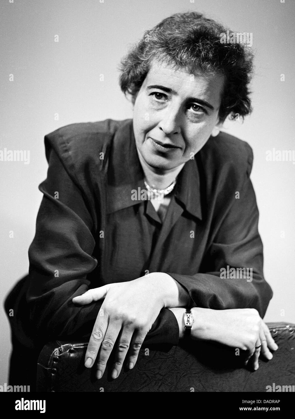 Hannah Arendt in 1949. Portrait by photographer Fred Stein (1909-1967) who emigrated 1933 from Nazi Germany to FranceStock Photo