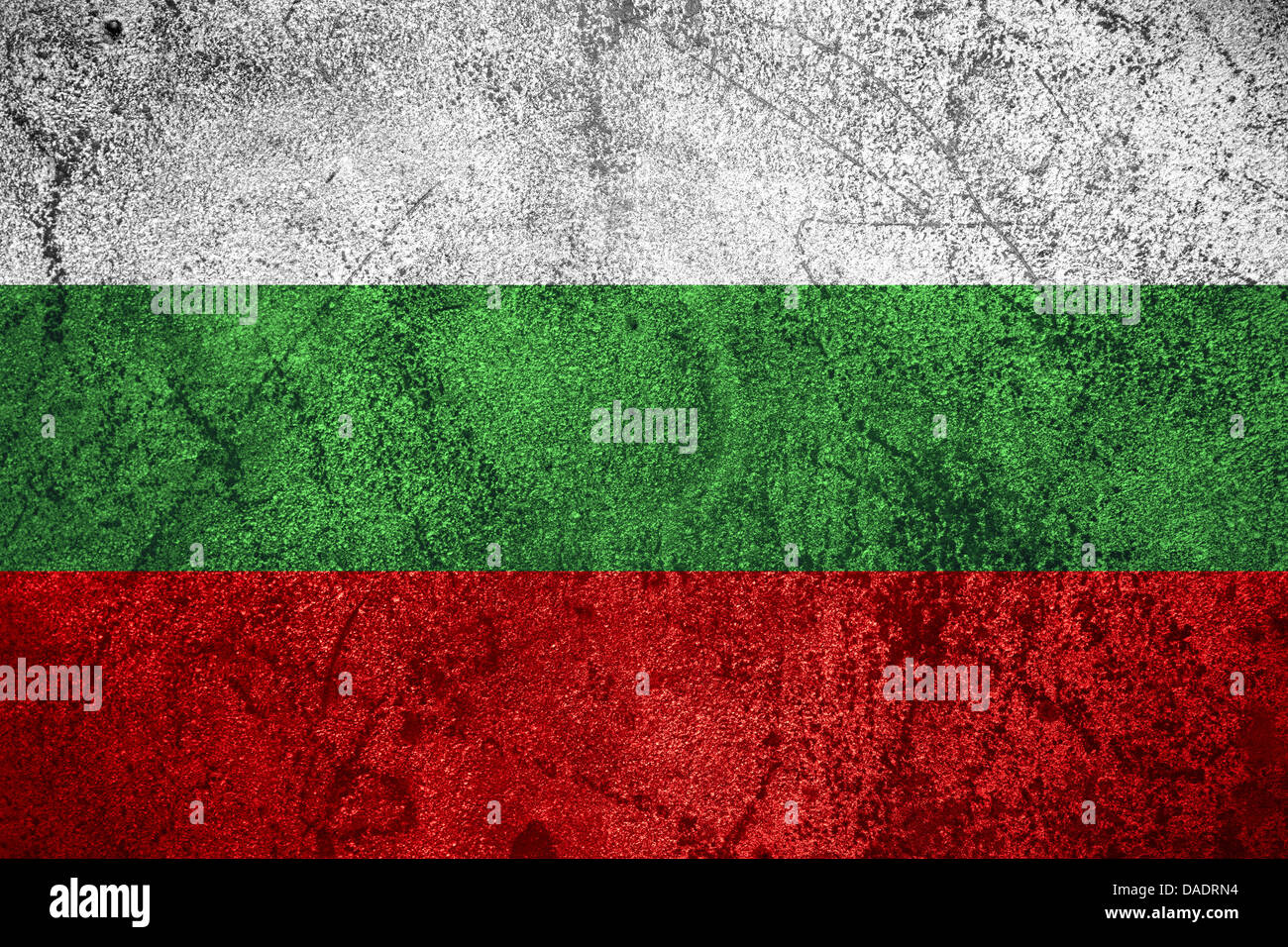flag of Bulgaria or Bulgarian banner on rough metal background - Stock Image