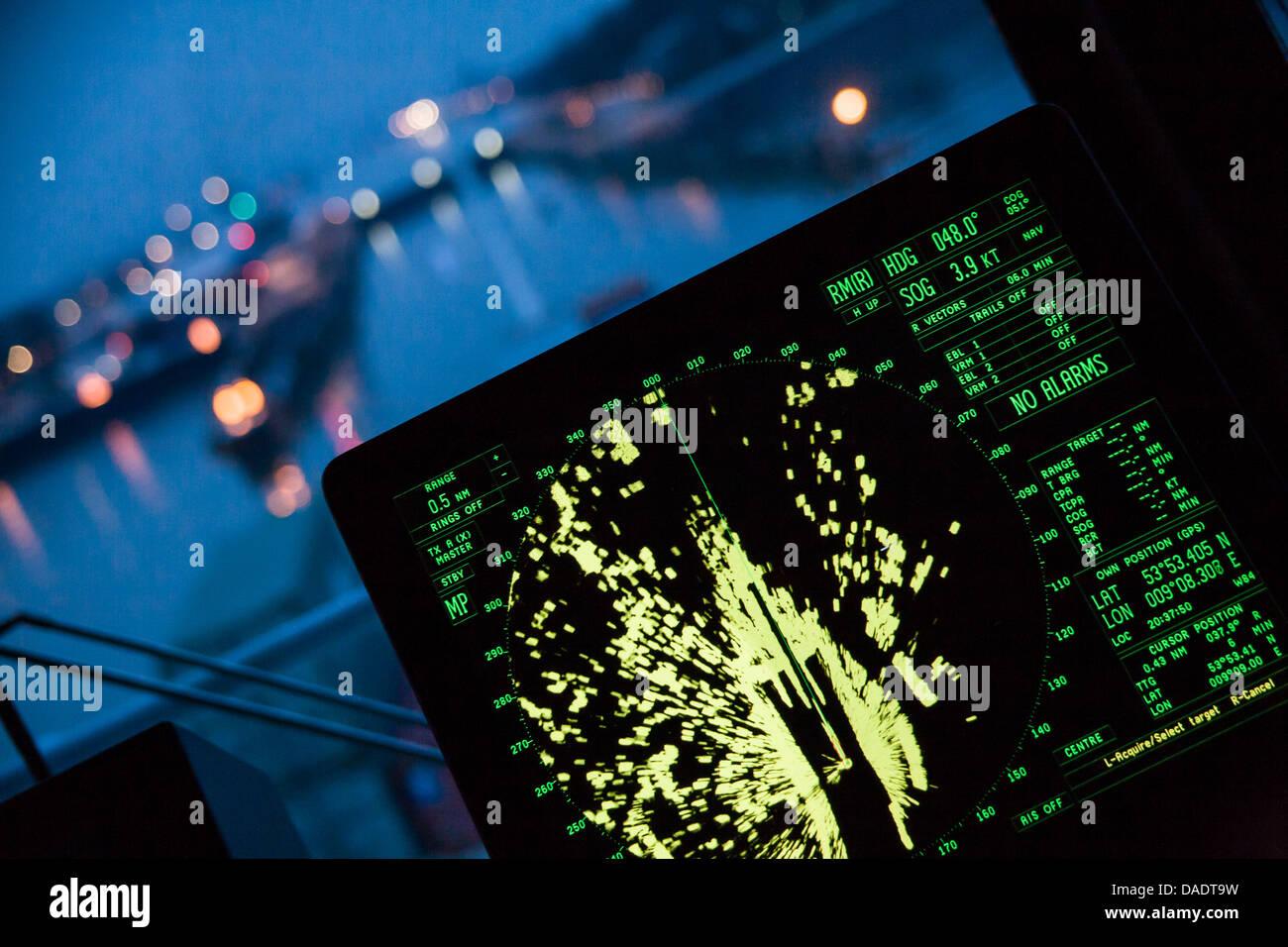 Germany, Hamburg, Navigation radar of a container ship Stock Photo