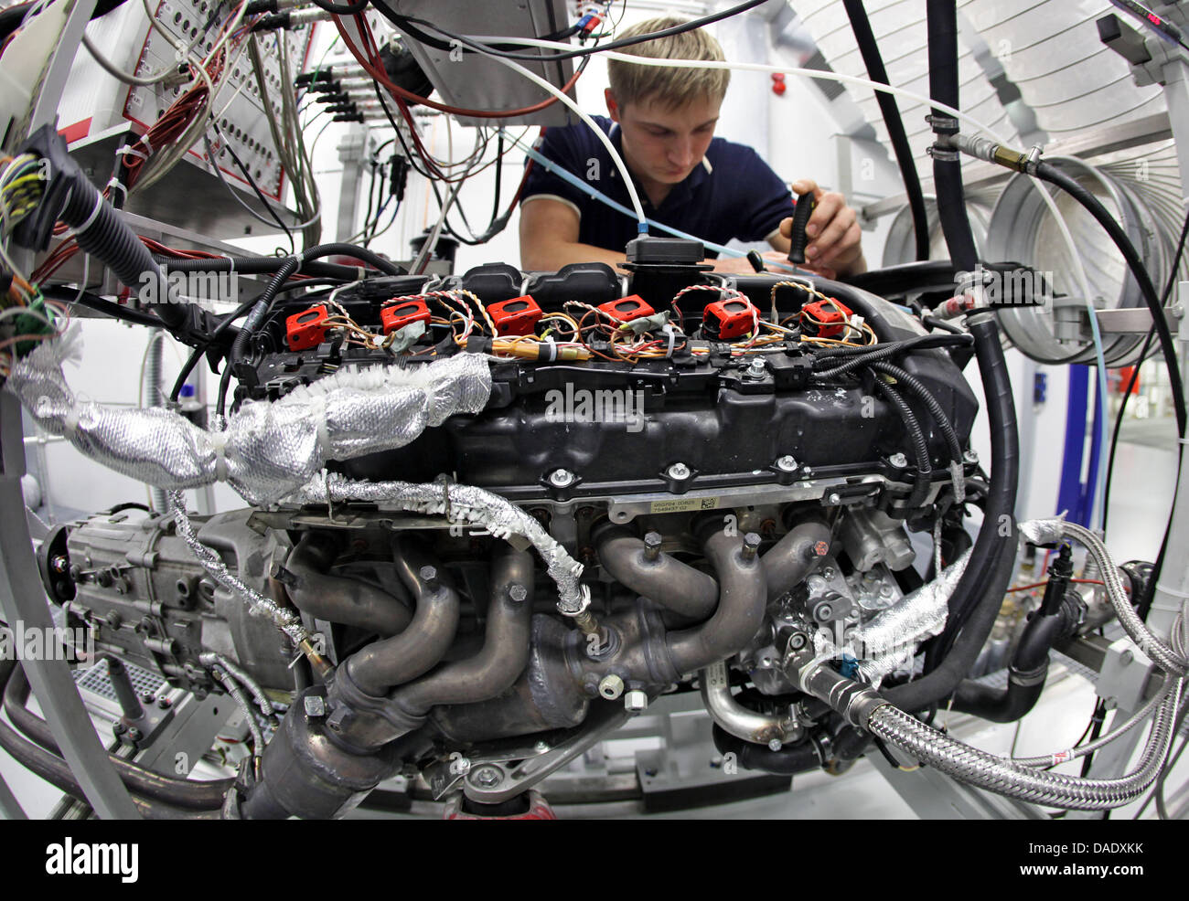 Christian Freund Testing Station Mechatronich Technician Prepares Electrical Installation Wiring Pictures November 2011 A Car Engine For Series Of Tests In Fev Sandersdorf Brehna Germany 03
