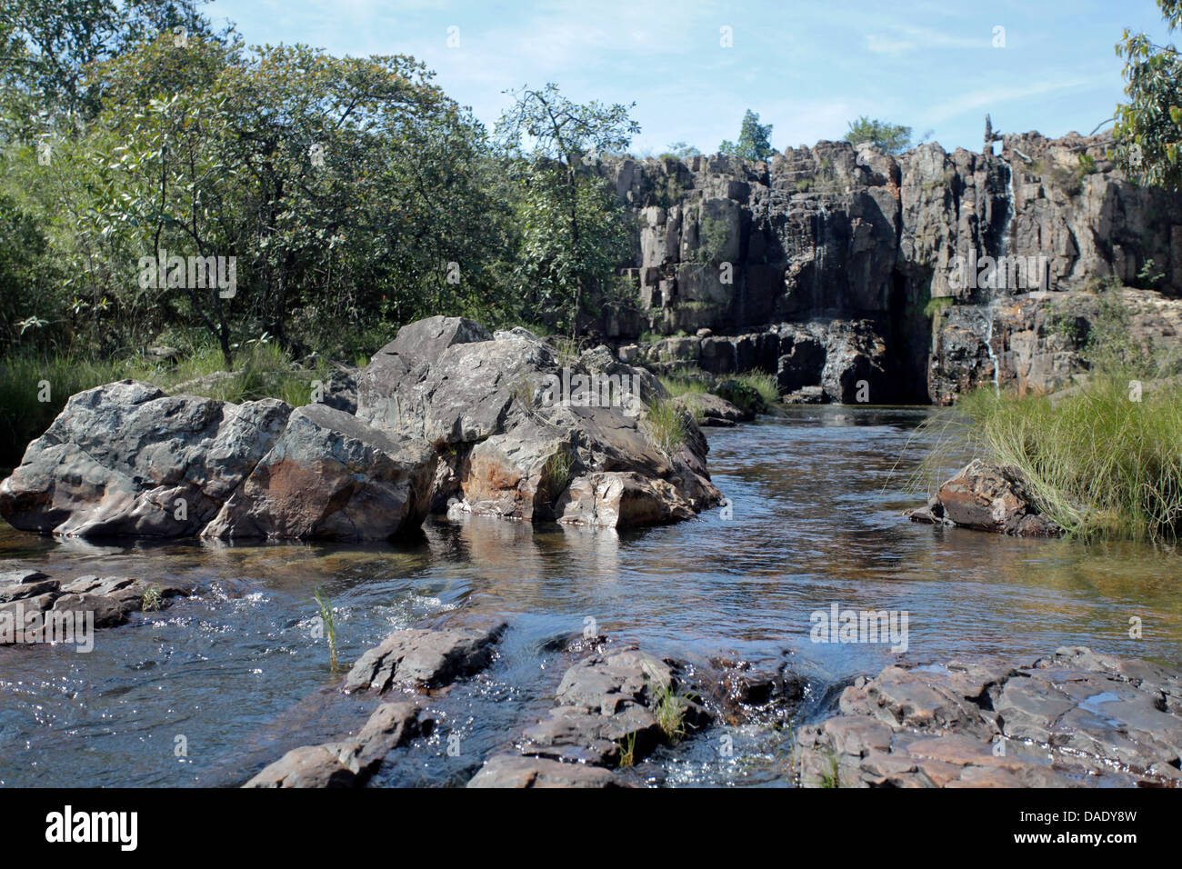 Water falls and river of Couros in Chapada dos Veadeiros Goias State Brazil - Stock Image