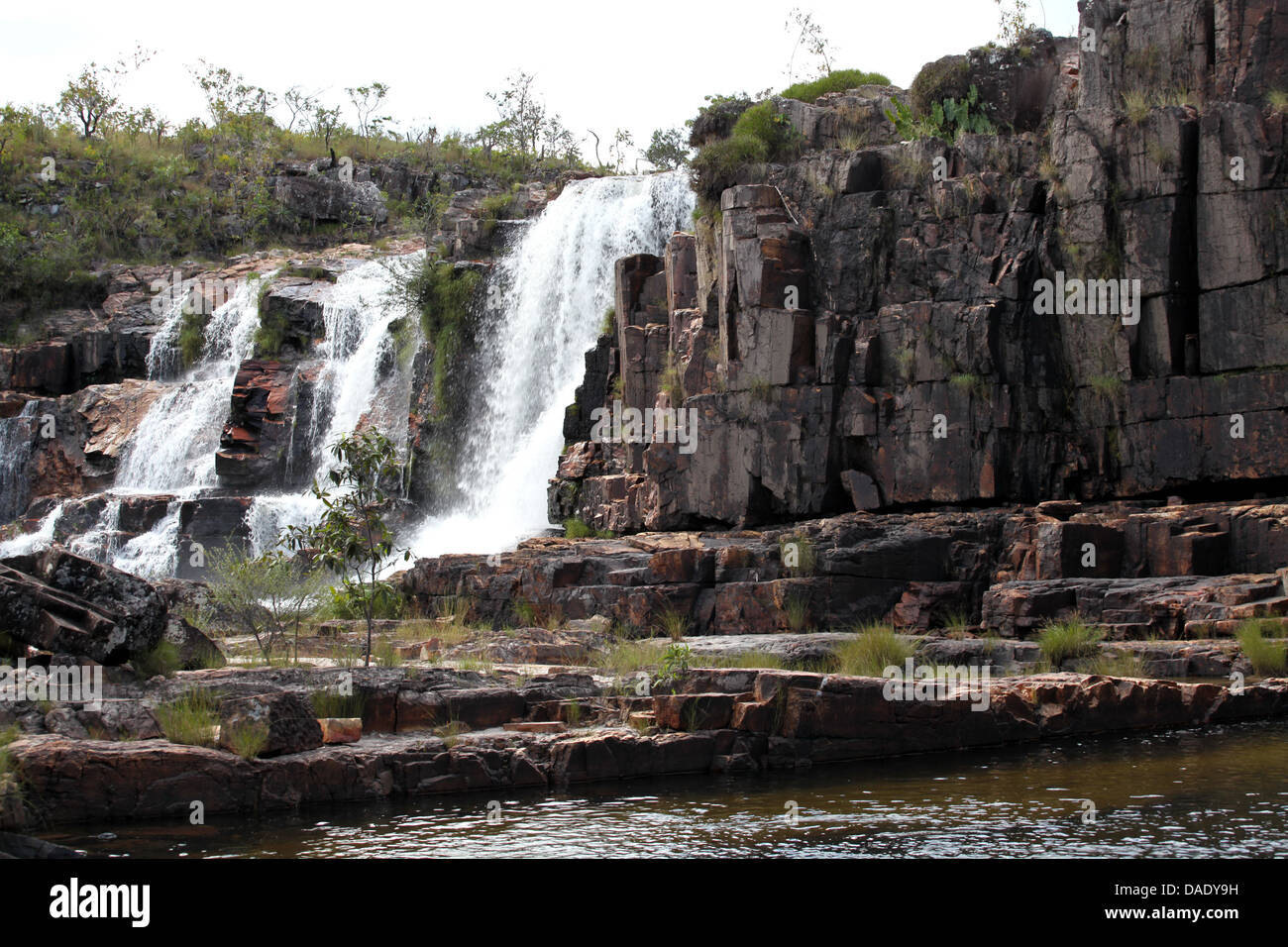 Water fall at Chapada dos Veadeiros in central Brazil Goias state, Brazil - Stock Image