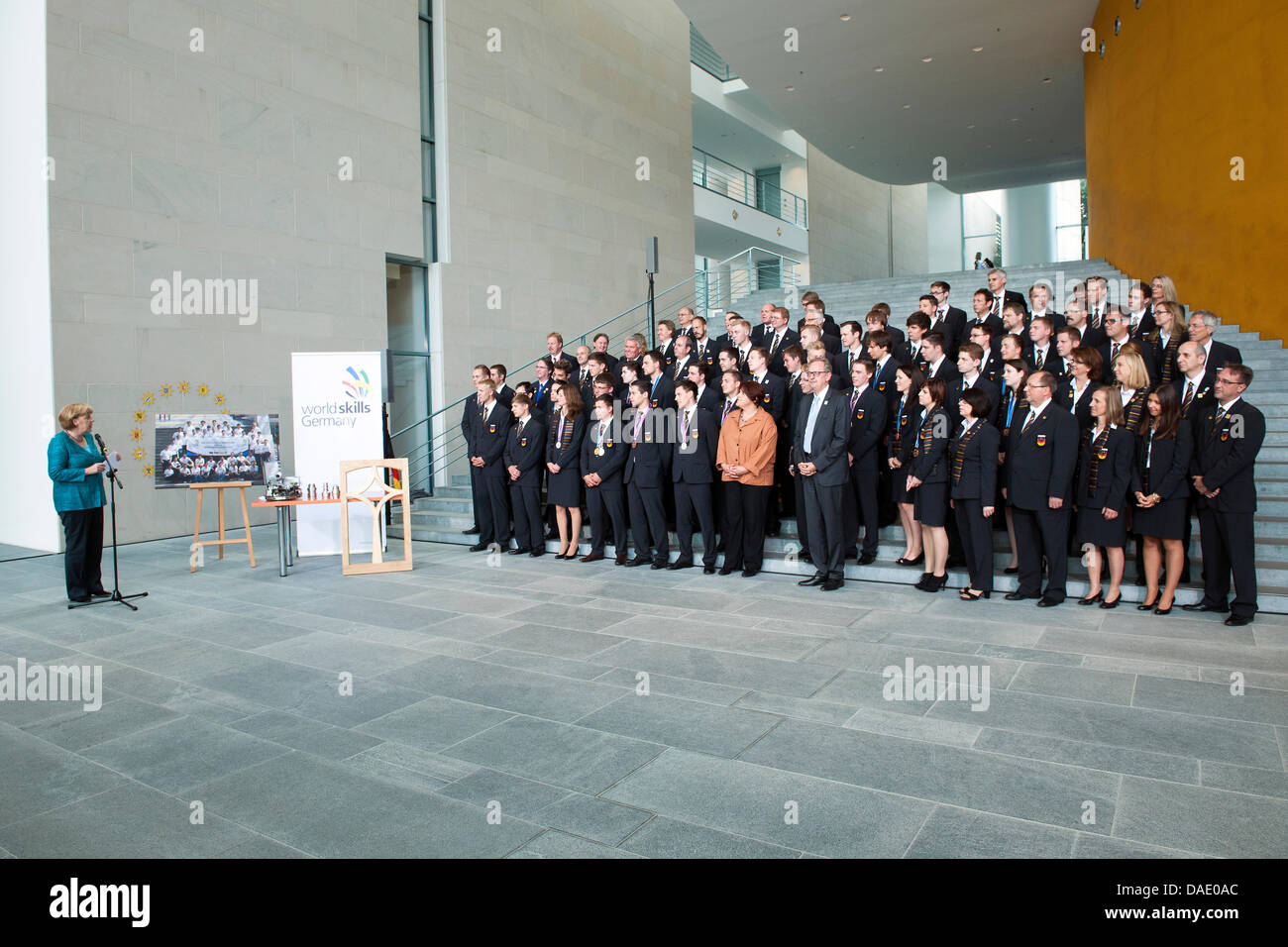 Berlin, Germany. July 11th 2013.   Federal Chancellor Angela Merkel receives the german participants of the 'WorldSkills' - Stock Image