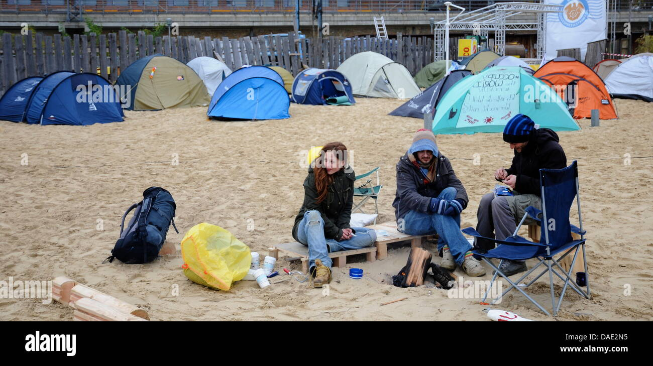 Occupy protesters camp at the government district in Berlin, Germany, 10November 2011. Occupy demonstrators - Stock Image