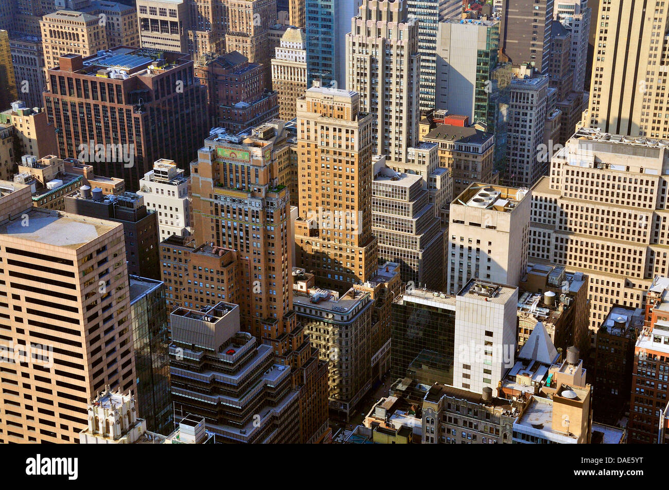 panoramic view from the observation deck 'Top of the Rock' of the Rockefeller Center over Downtown Manhattan, USA, Stock Photo