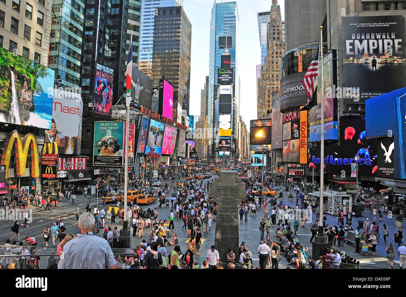 panoramic view over the overcrowded Duffy Square at the Times Square in Midtown, USA, New York City, Manhattan Stock Photo