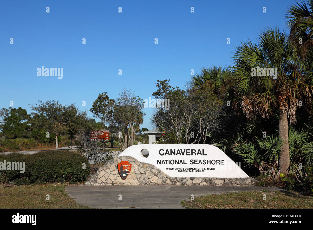 entrance to the conservation area 'Canaveral National Seashore', USA, Florida, Merritt Island - Stock Image