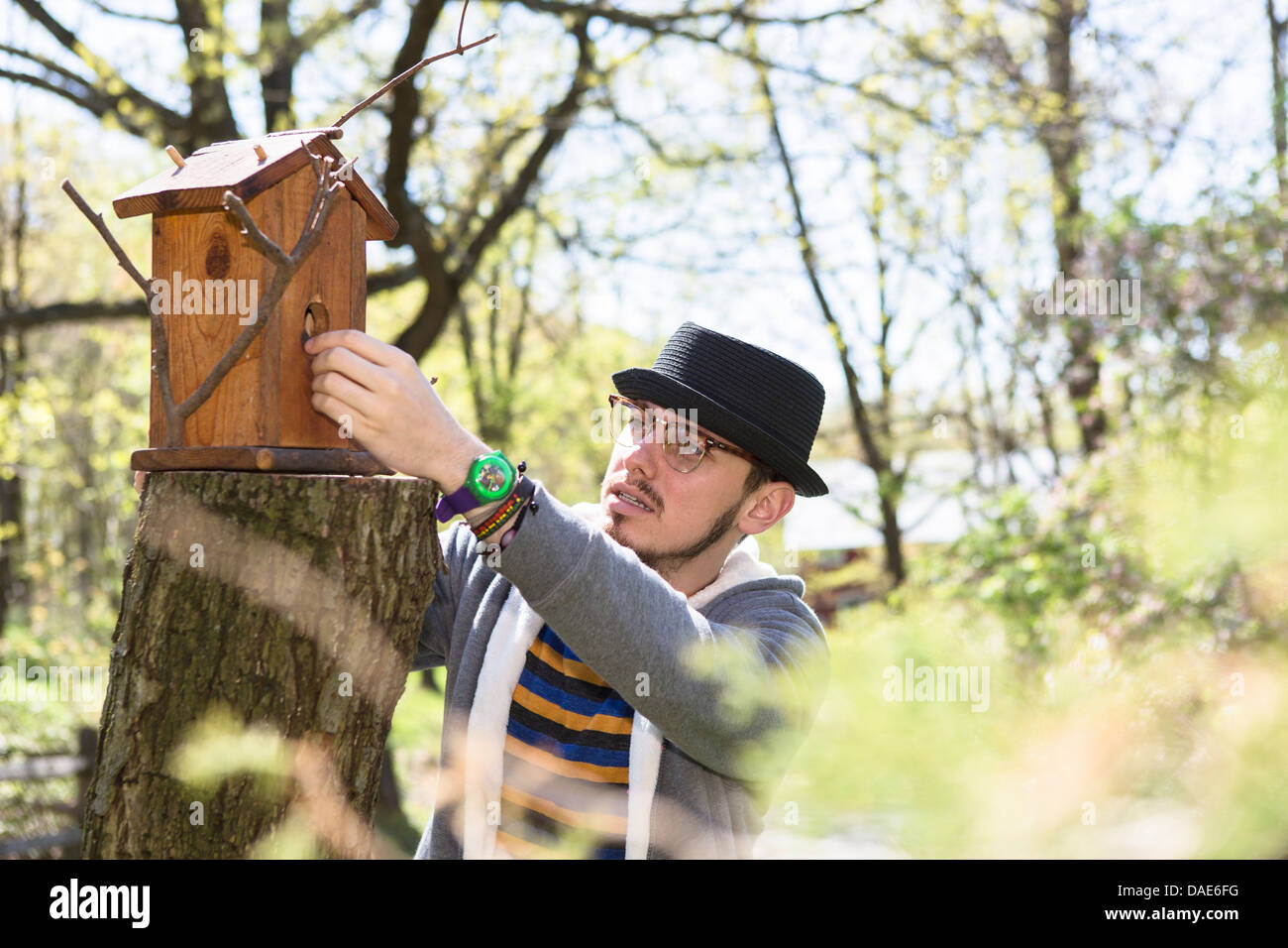 Man looking at bird house - Stock Image