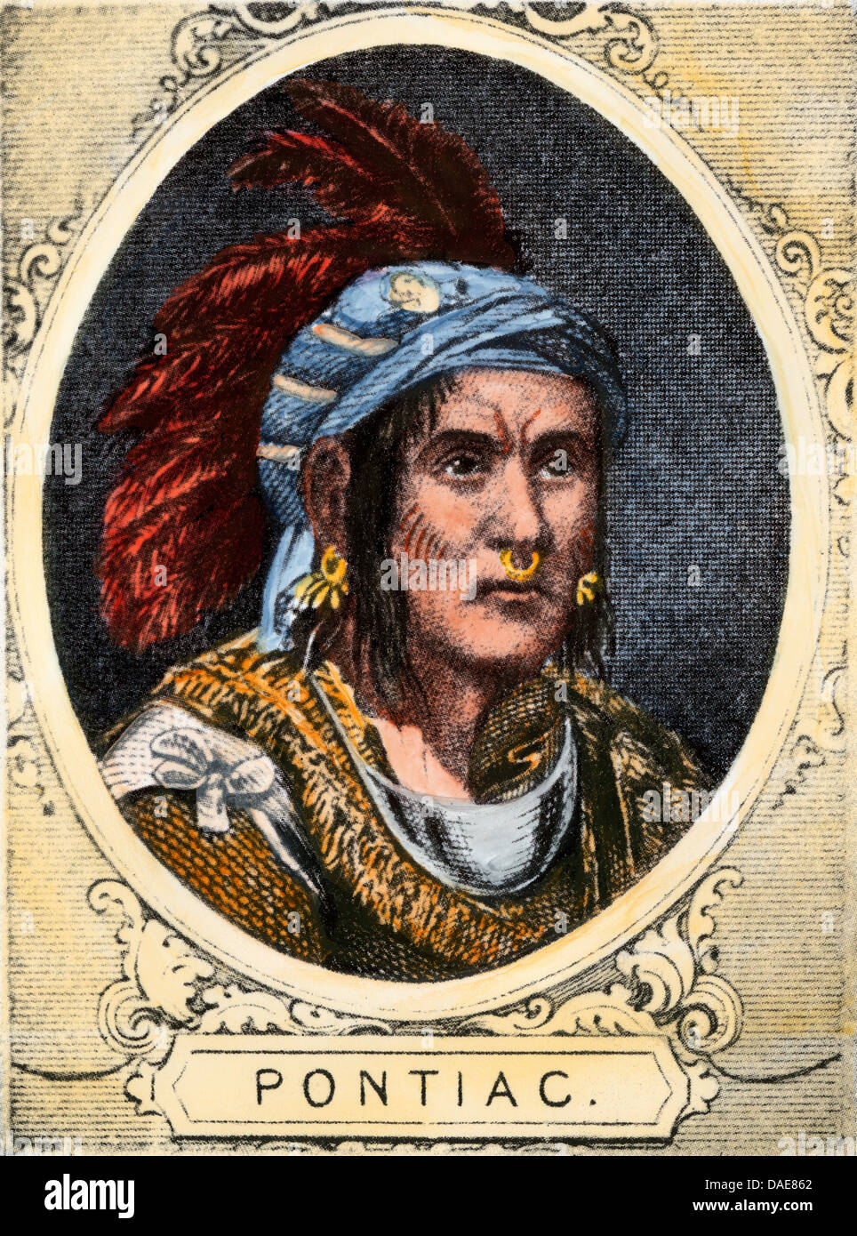 Chief Pontiac of the Ottawa nation. Hand-colored woodcut - Stock Image