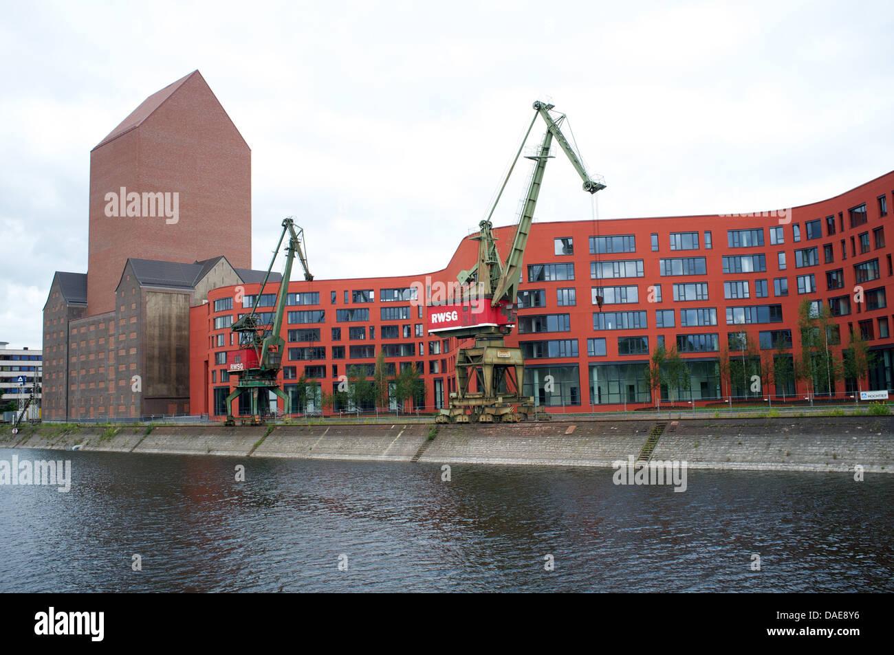 Inner harbour Duisburg Germany - Stock Image