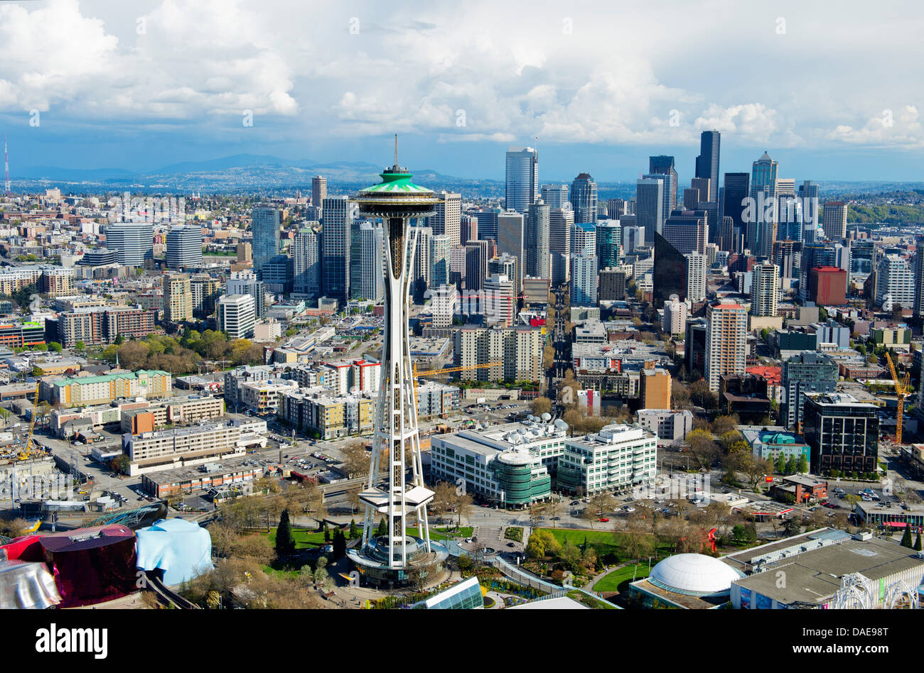 Aerial view of space needle seattle washington state usa stock photo 58092296 alamy for Build on your lot washington state