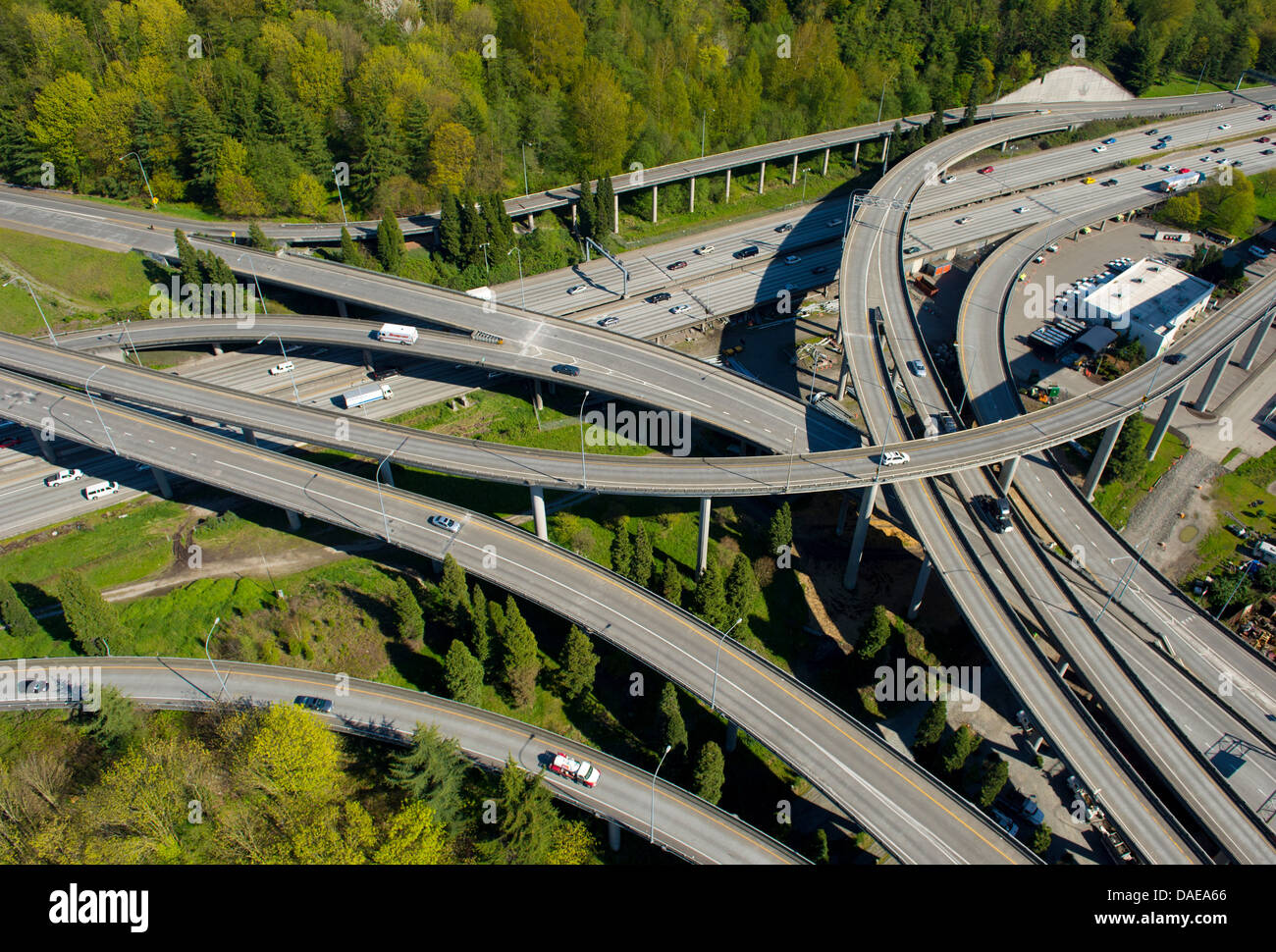 Aerial view of highway flyovers, Seattle, Washington State, USA - Stock Image