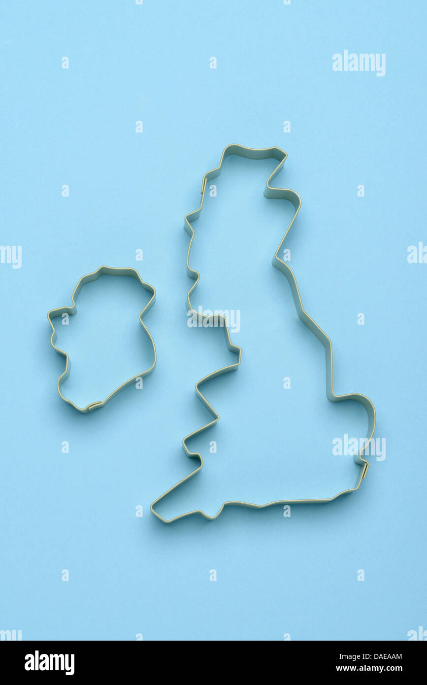 Metal outline of the British Isles UK and Ireland - Stock Image