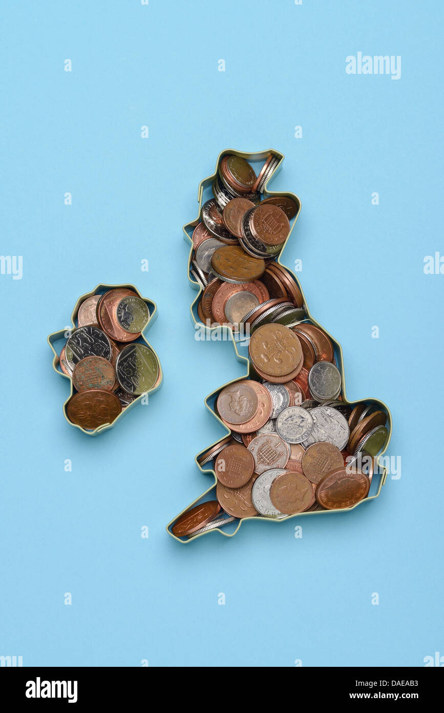 Coins in the shape of the British Isles UK and Ireland - Stock Image