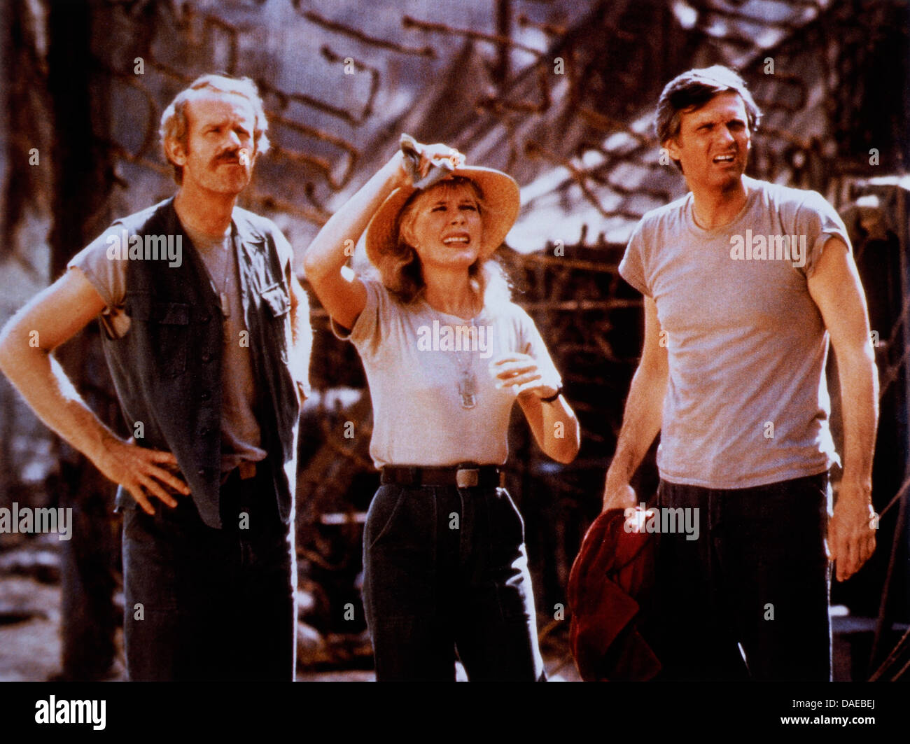 Mike Farrell, Loretta Swit and Alan Alda, On-Set of the Television Series, M*A*S*H, 1983 - Stock Image