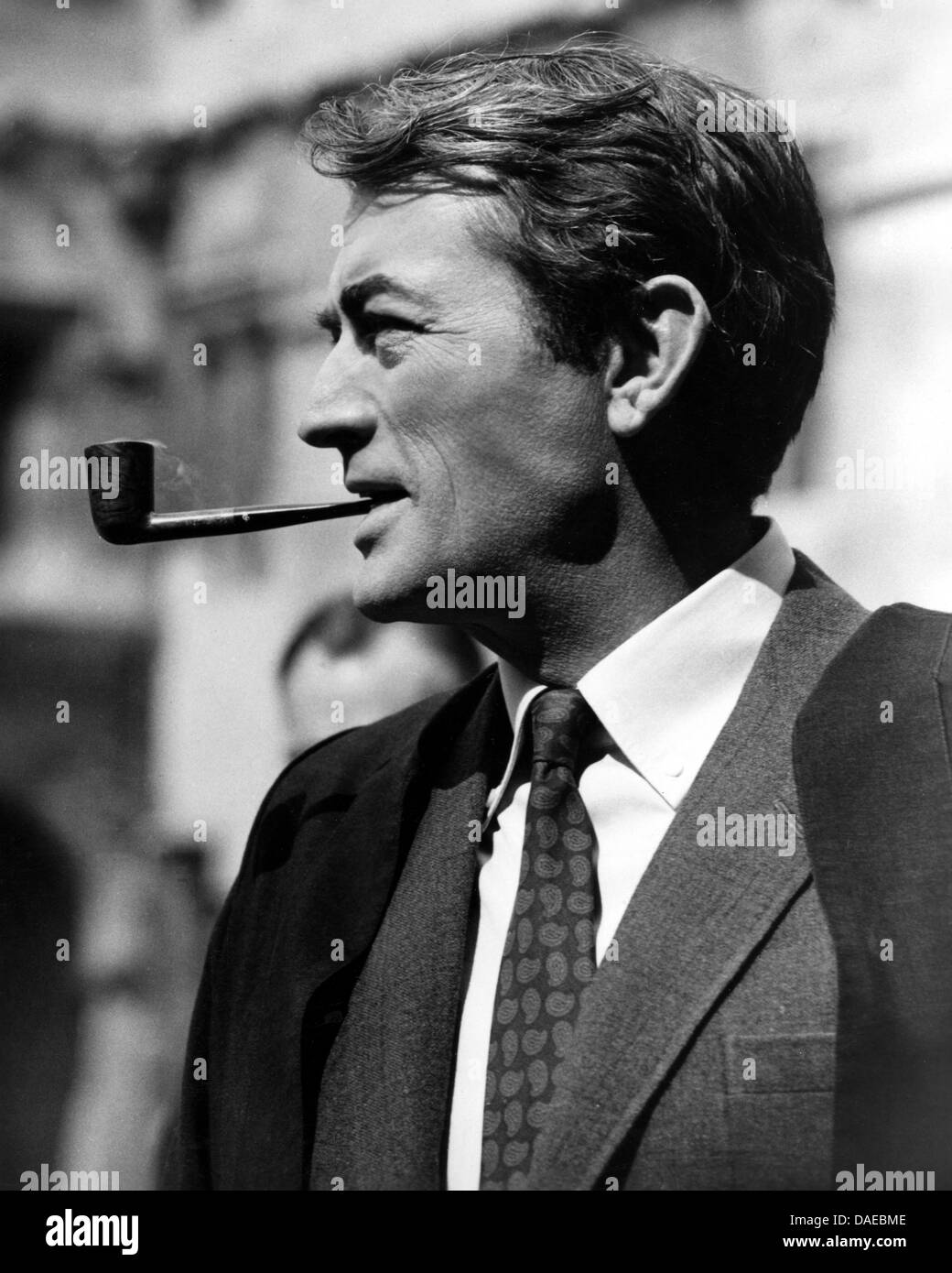 Gregory Peck on-set of the Film, 'Arabesque', Stanley Donen Enterprises with Distribution via Universal - Stock Image