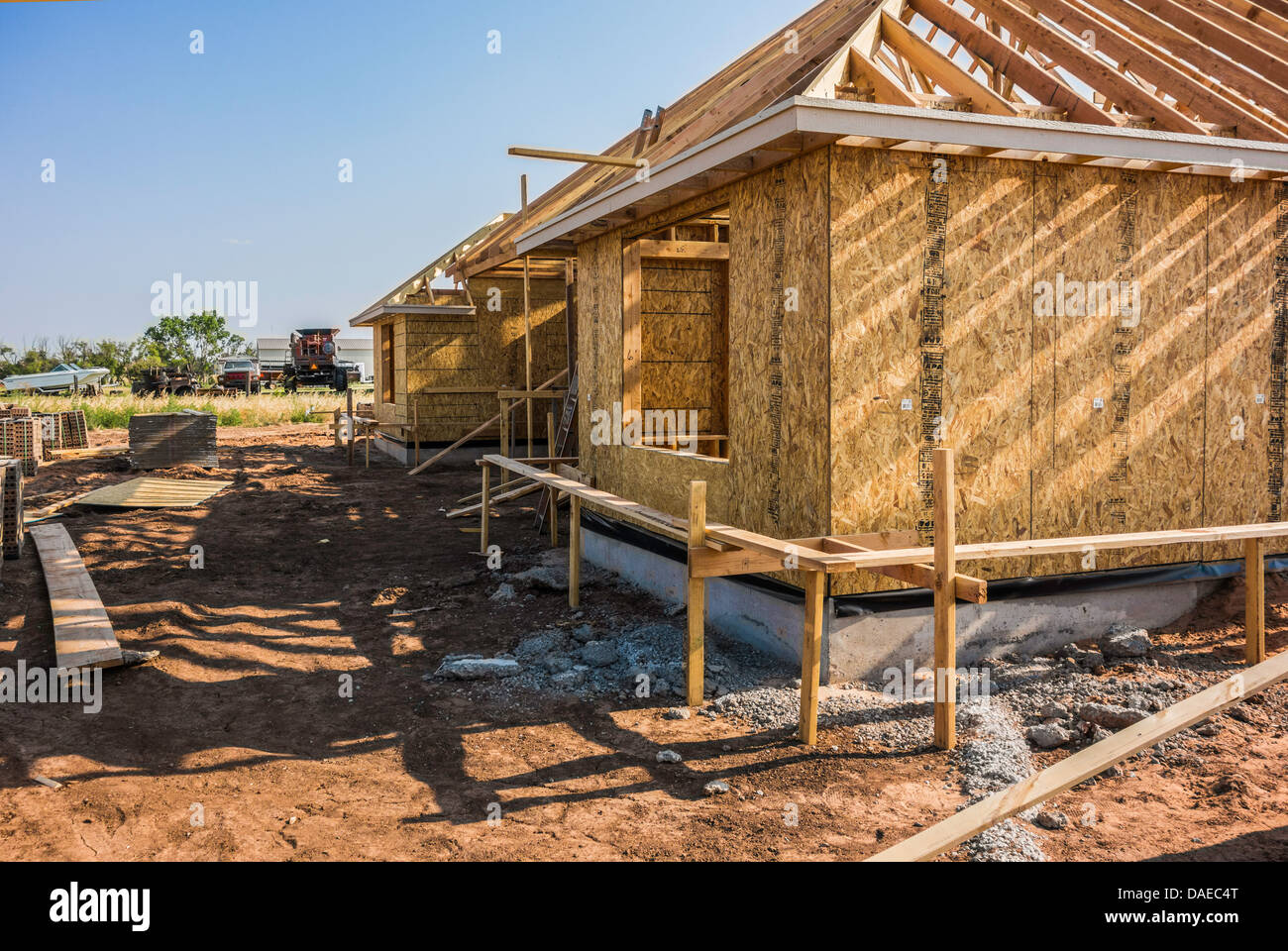 New home custom construction in rural Oklahoma, USA. Oblique view. Stock Photo