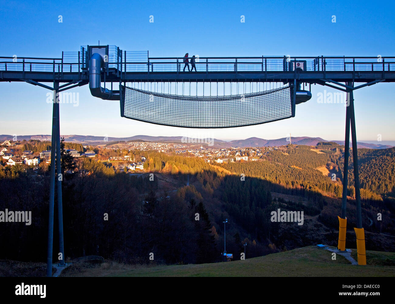 Panorama-Erlebnis-Bruecke with the Dschungelbruecke hanging below, Germany, North Rhine-Westphalia, Sauerland, Winterberg - Stock Image
