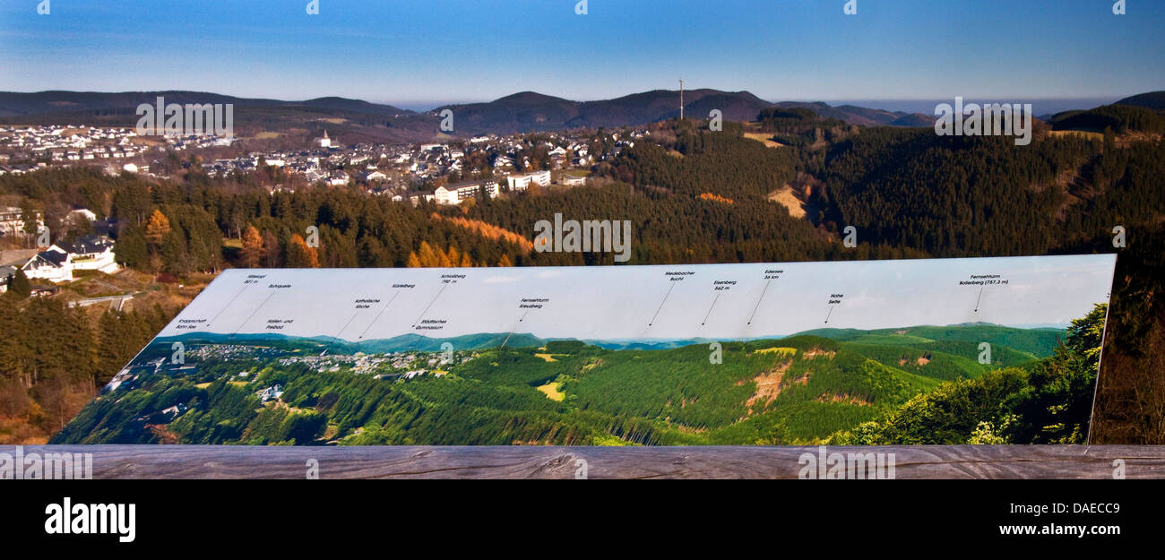 information sign on the Panorama-Erlebnis-Bruecke in front of Sauerland panorama, Germany, North Rhine-Westphalia, - Stock Image