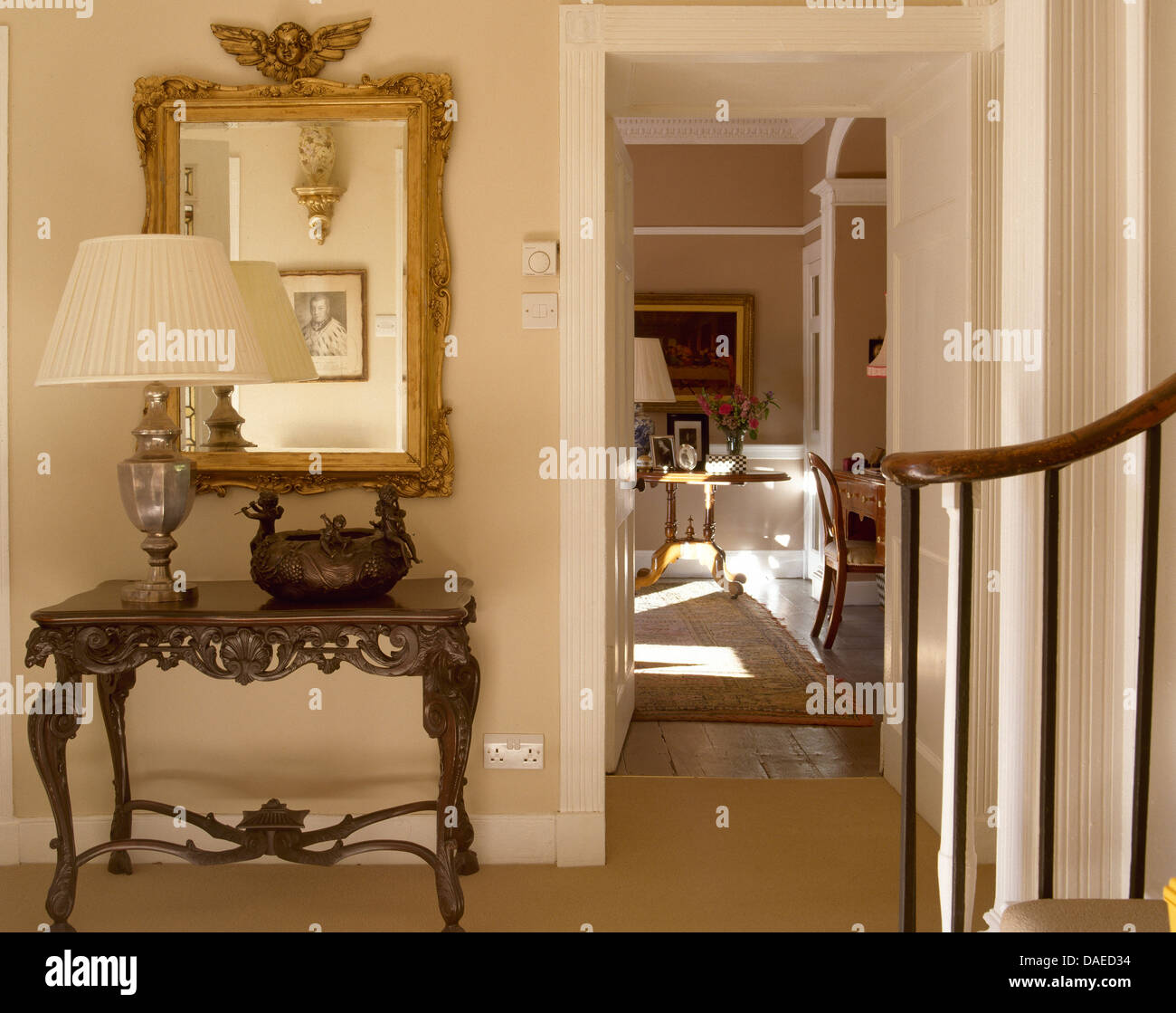 hall console table with mirror. Country Hall With Ornate Antique Gilt Mirror Above Console Table Metal Lamp Beside Doorway To Dining Room Y