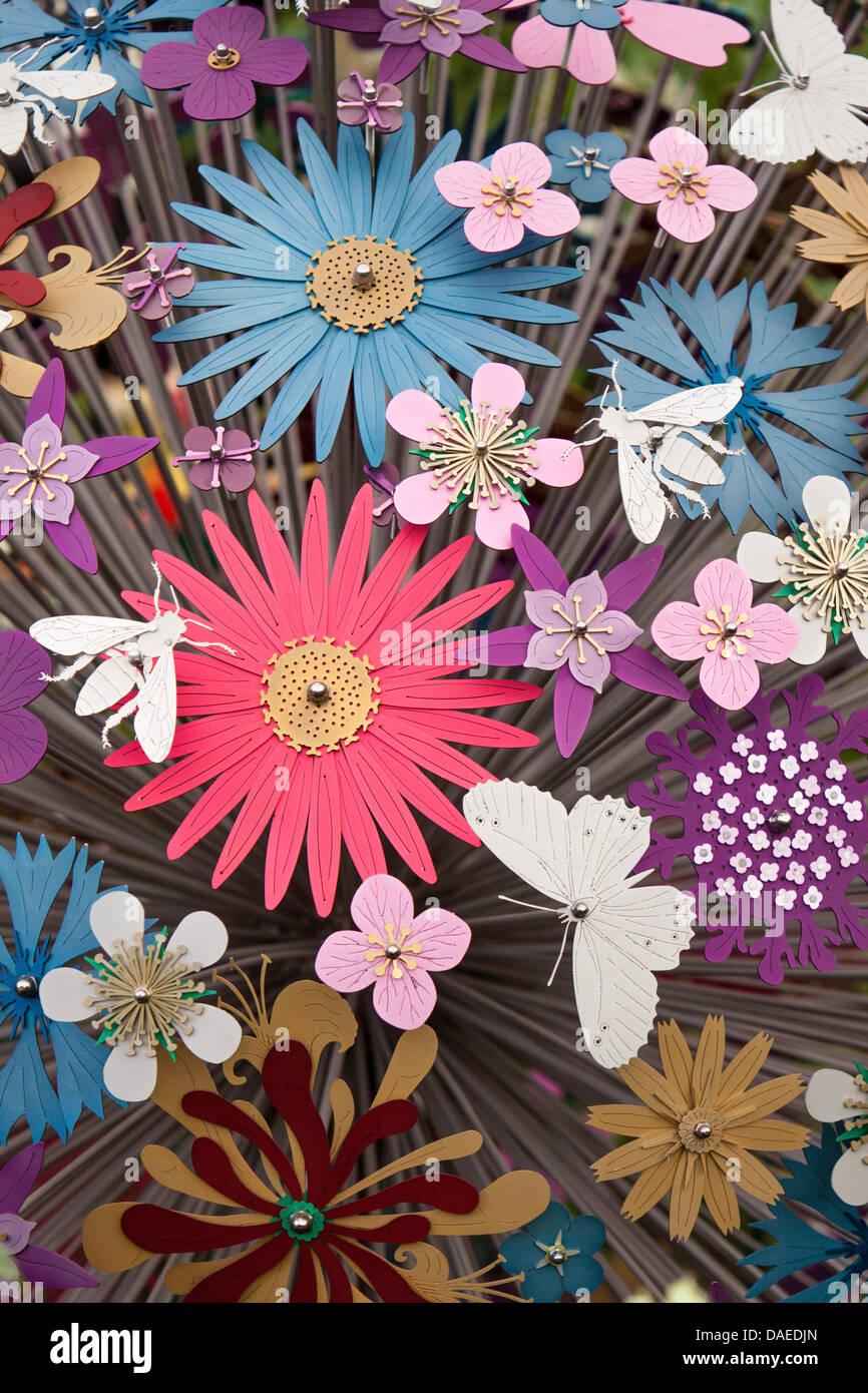 Metal garden Sculpture depicting flowers and Butterflies. England ...