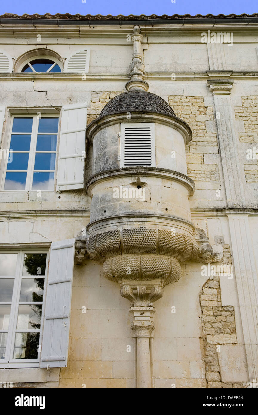 Exterior Of French Chateau With Oriel Window Beside Windows