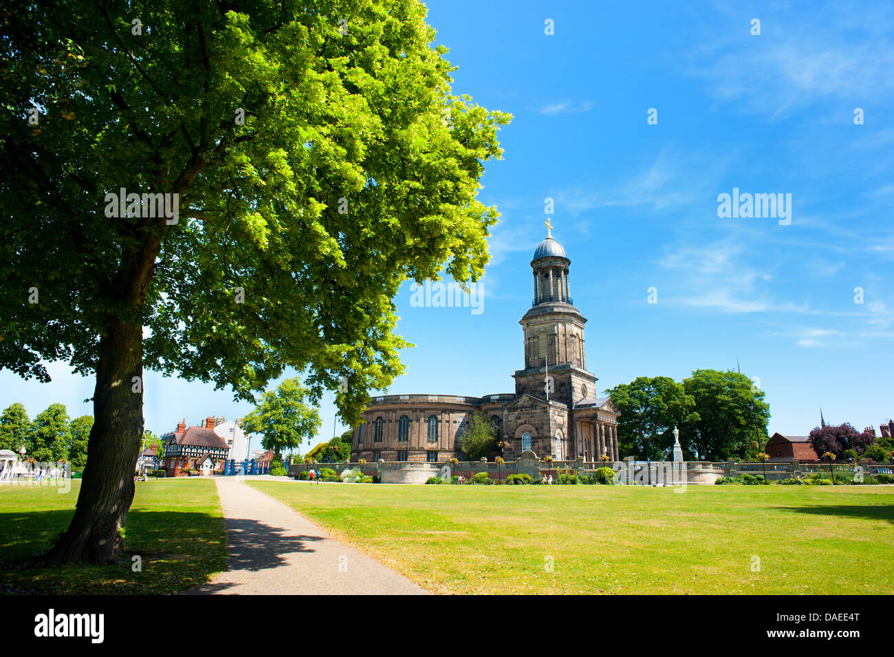 St Chad's Church from The Quarry, Shrewsbury, England. - Stock Image