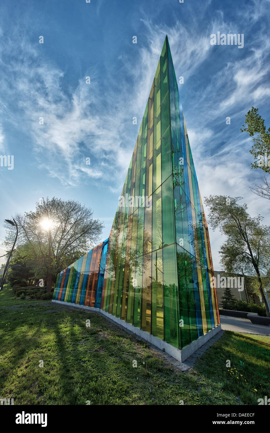 'papa' public art angled glass wall in Gatineau, Quebec, Canada - Stock Image