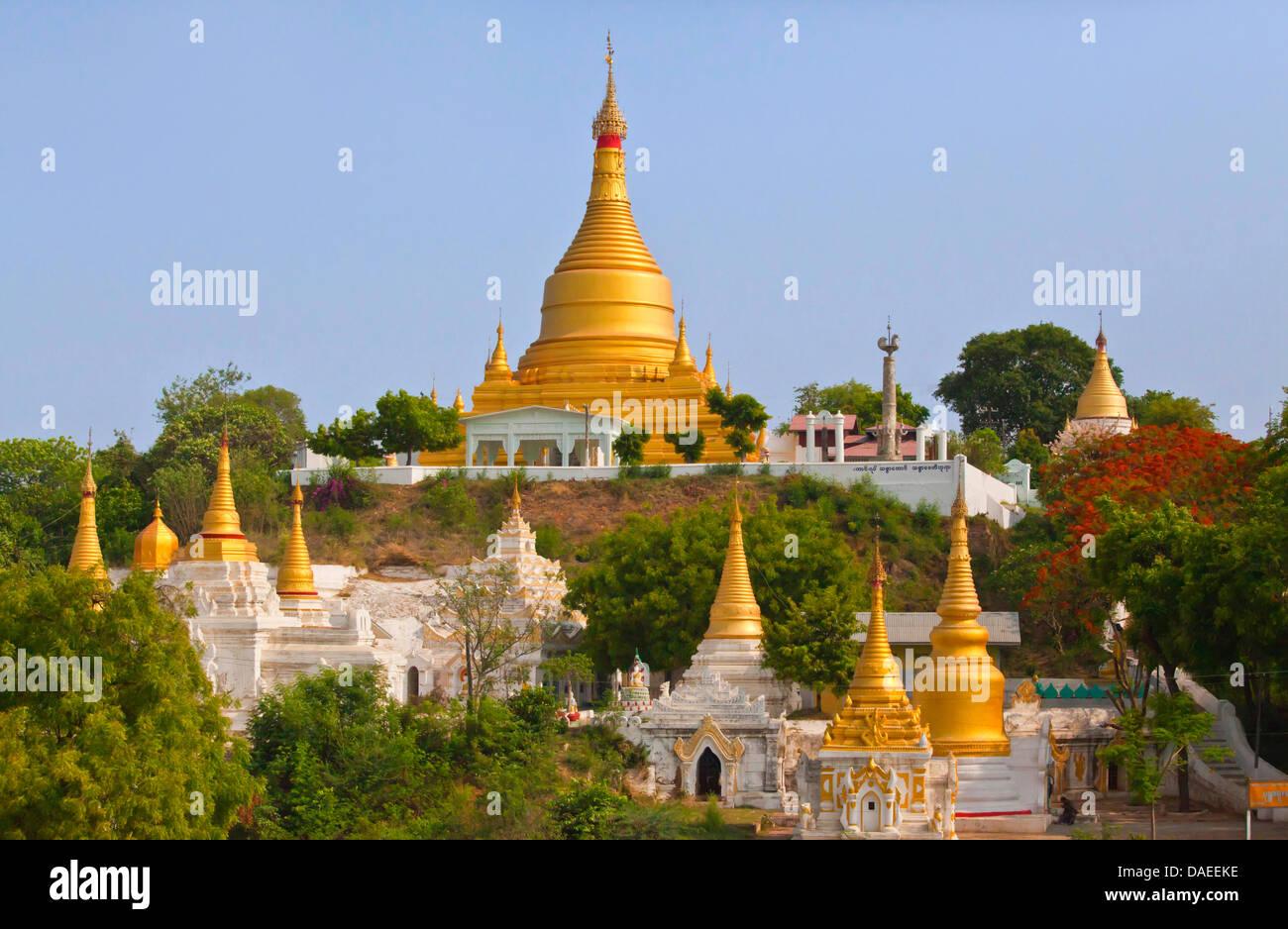 buddhistic monastery on Sagaing hill, Burma, Sagaing, Mandalay - Stock Image