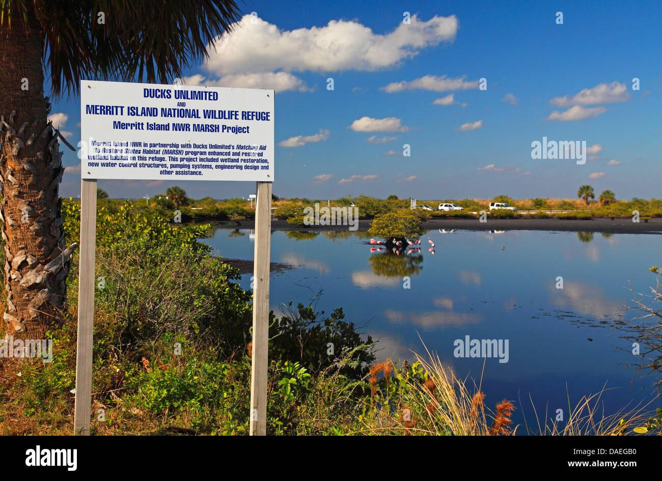 National wildlife refuge Merritt Island, information plate, USA, Florida, Merritt Island Stock Photo