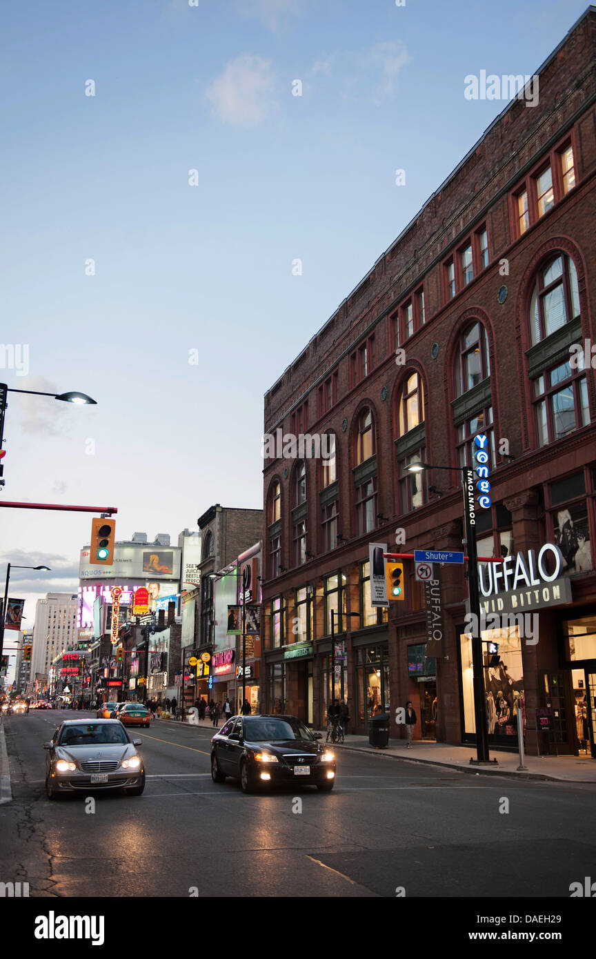 Yonge Street at Dusk, Downtown Toronto, Canada - Stock Image
