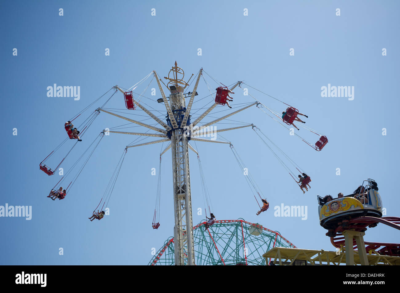 Thousands of funlovers escape to Coney Island in Brooklyn in New York on Independence Day Stock Photo
