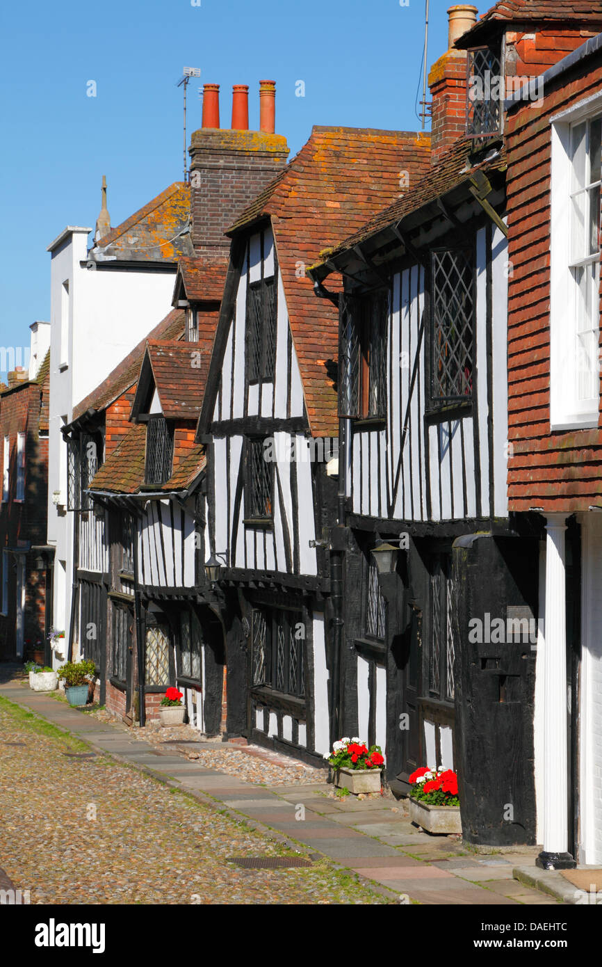 Medieval houses in Rye, East Sussex, England, UK, GB - Stock Image