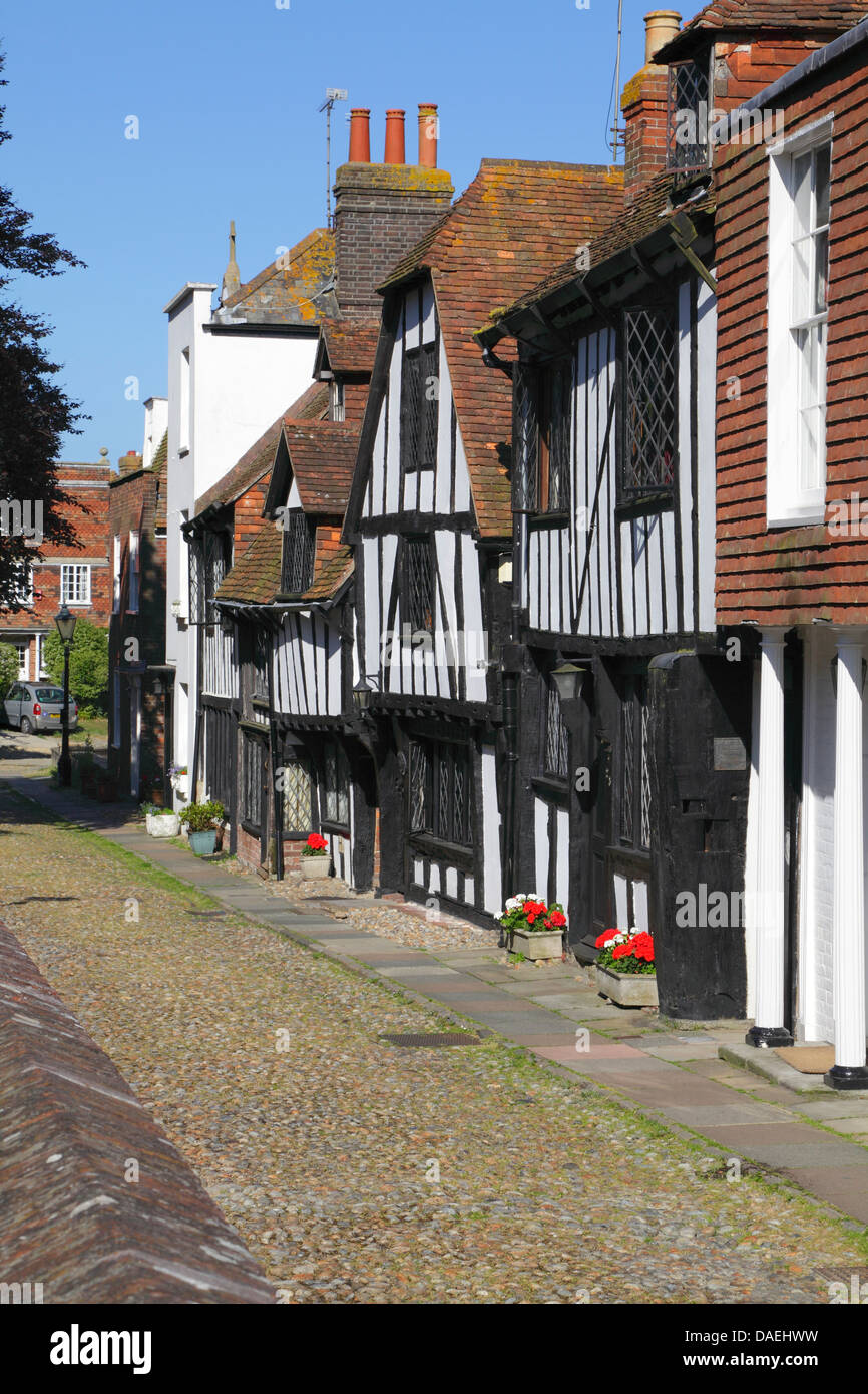 Medieval houses in Church Square, Rye, East Sussex, England, UK, GB - Stock Image