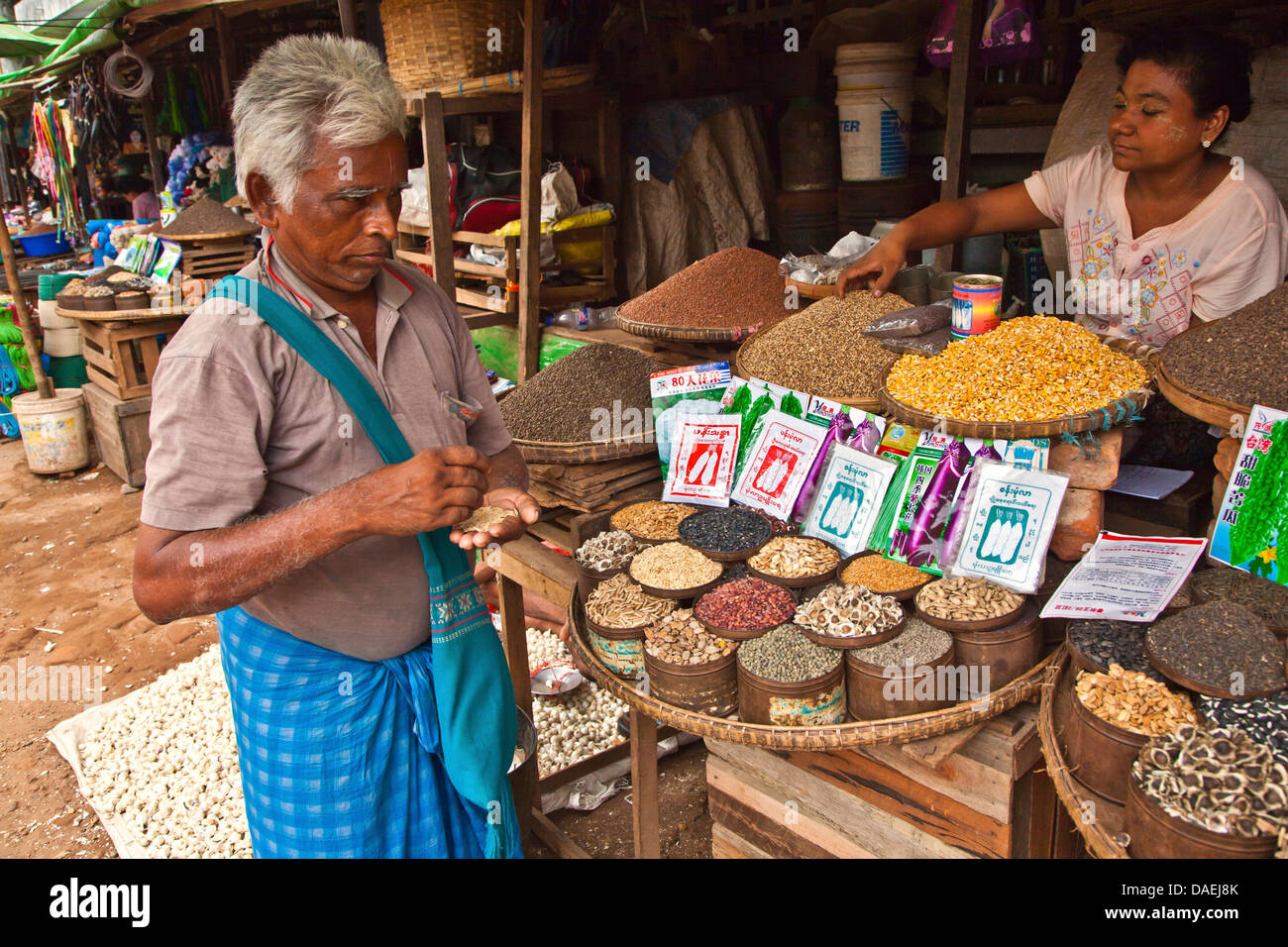MEDICINAL SPICES and SEEDS for sale at the CENTRAL MARKET in BAGO, Burma, Bago - Stock Image