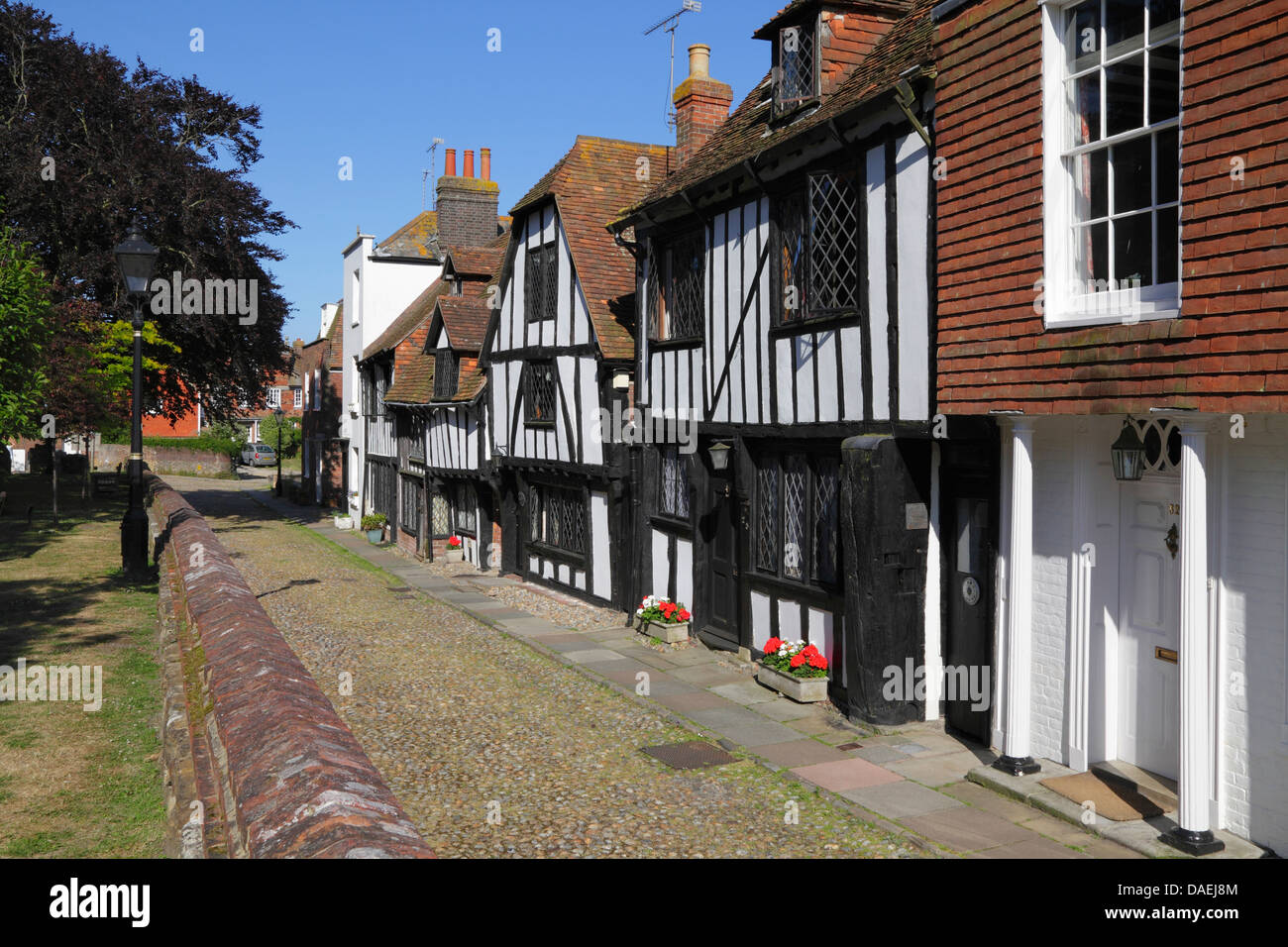 Medieval timber framed houses in Church Square, Rye East Sussex, England, UK, GB - Stock Image