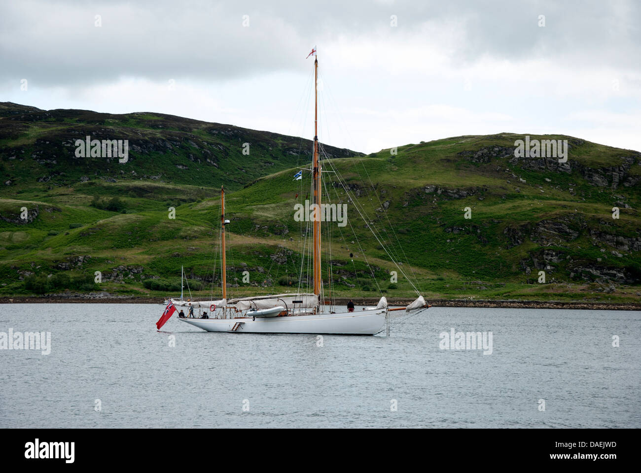 William Fife Built Gaff Ketch 'Kentra' Moored in Tighnabruaich Bay West Coast of Highlands of Scotland Fife - Stock Image