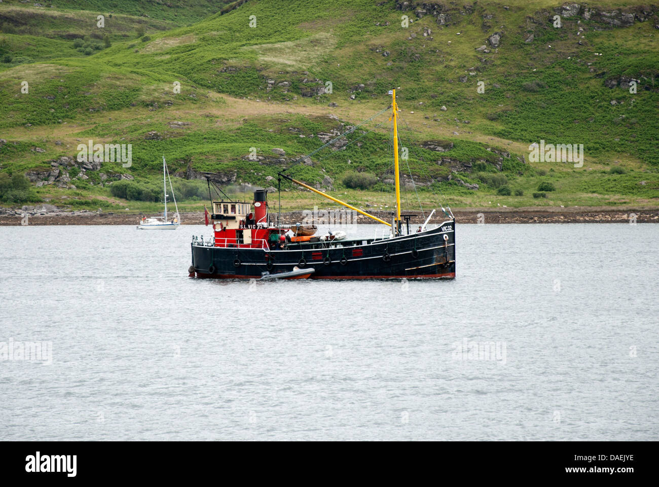 Steam Engined Clyde Puffer Boat Vic 32 at Tighnabruaich - Stock Image