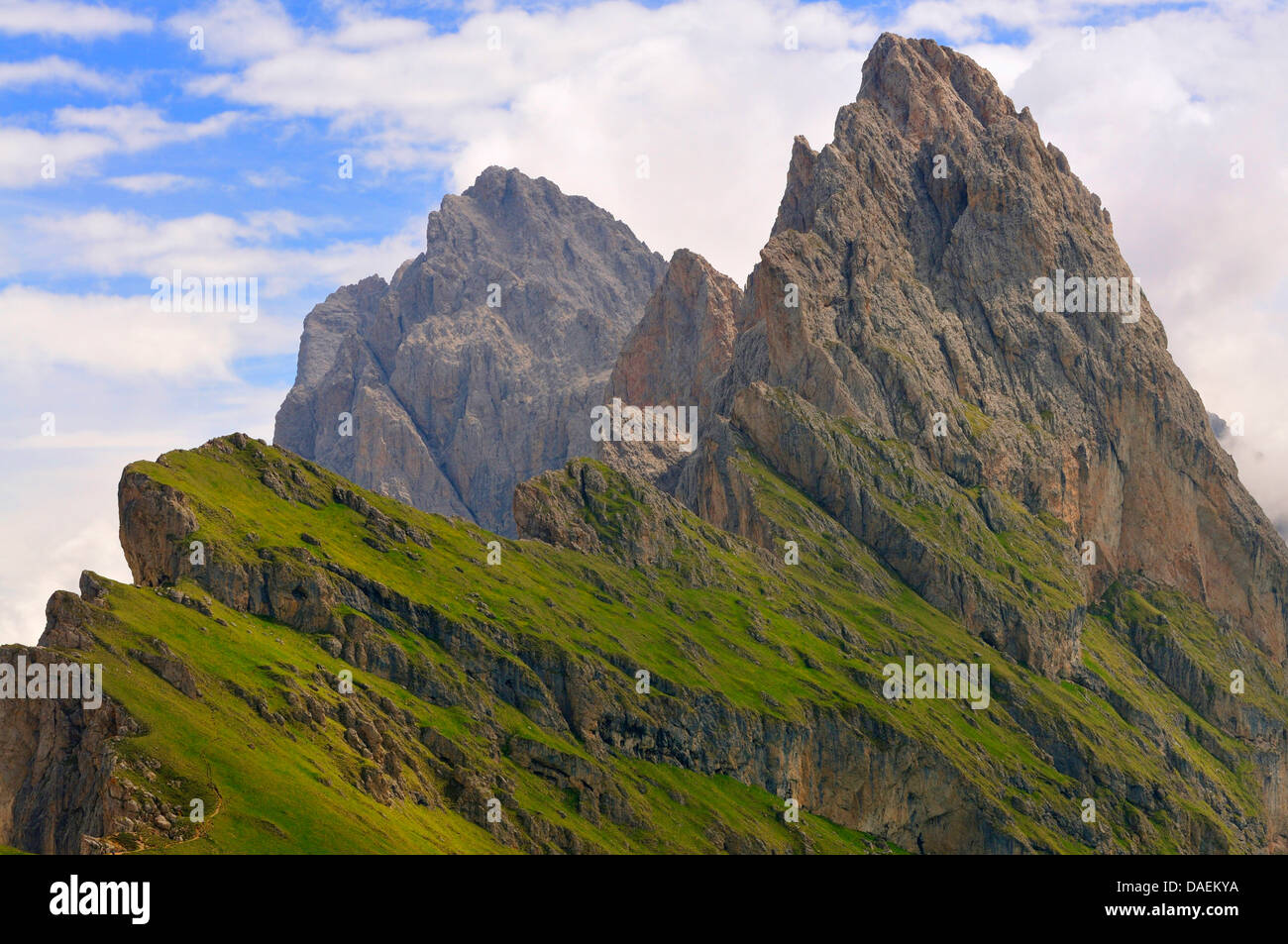 View onto the Fermeda summits, Italy - Stock Image