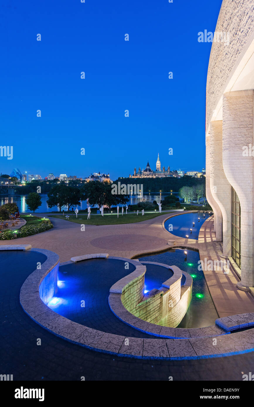Ottawa skyline and river viewed from the Museum of Civilizations at the blue hour - Stock Image