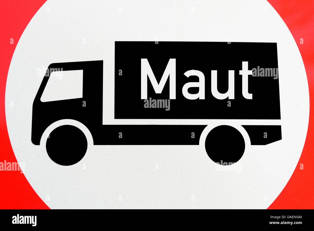 sign lorry toll, Germany - Stock Image