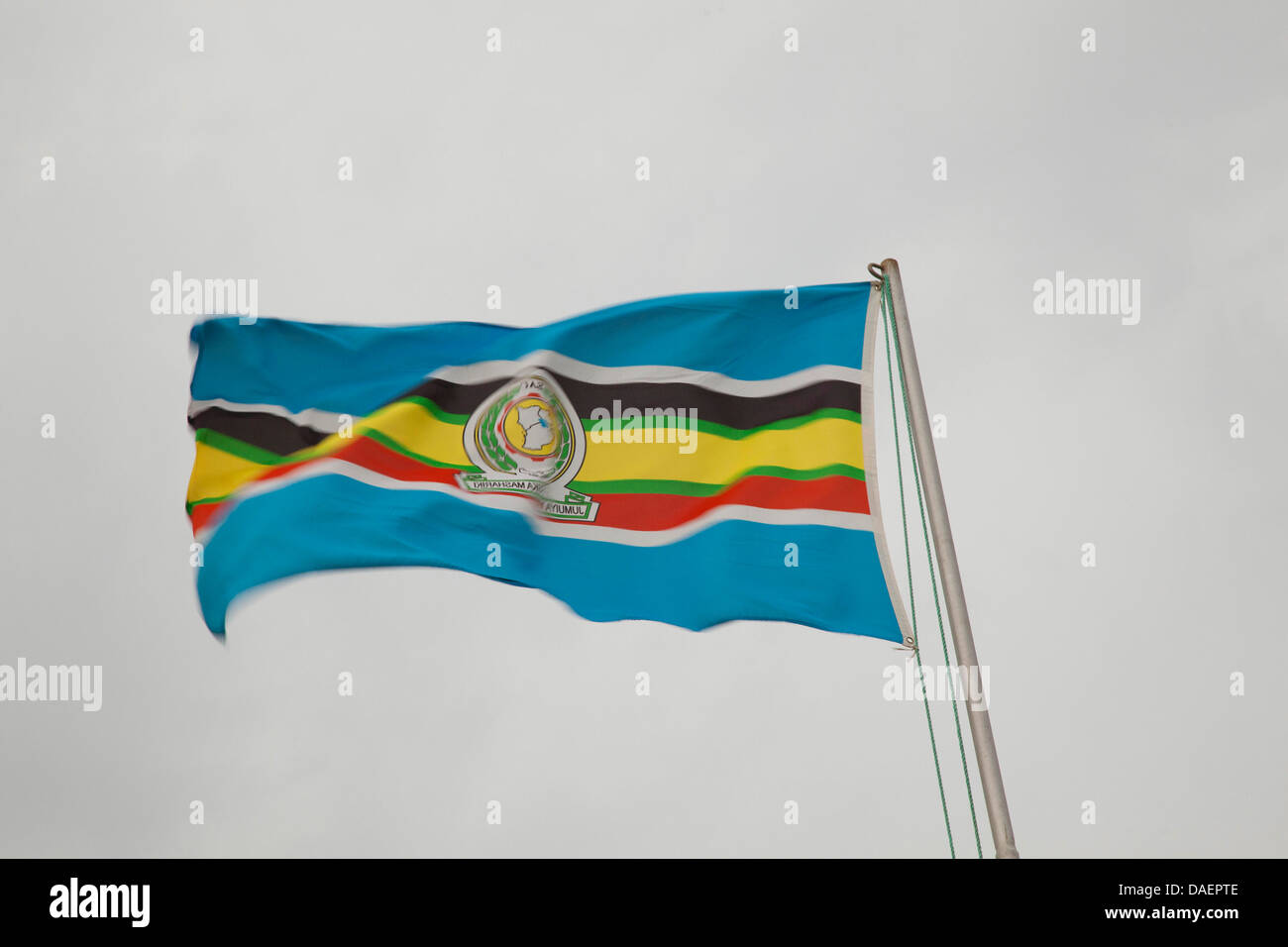 flag of the East African Community blowing in the wind, Rwanda Stock Photo