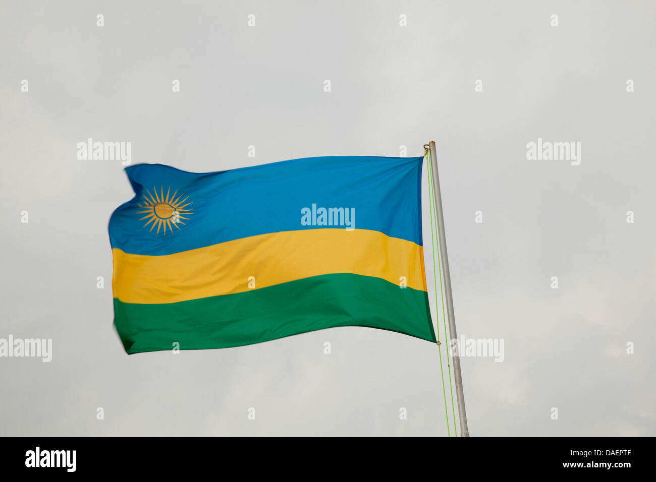 flag of Ruanda blowing in the wind, Rwanda Stock Photo