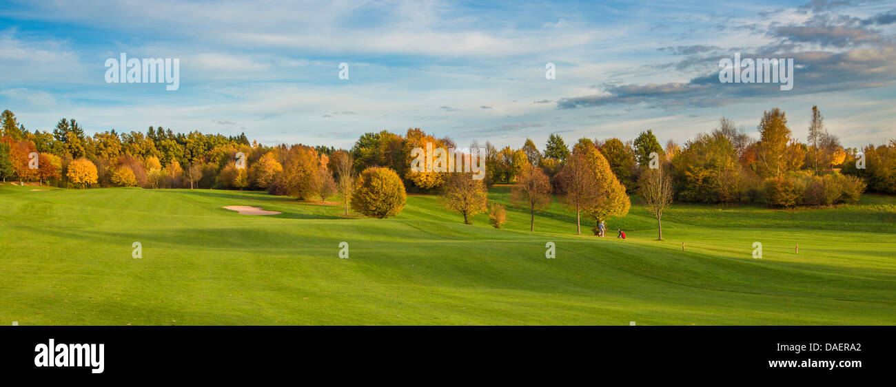 golf course with autumn trees, Germany, Bavaria - Stock Image