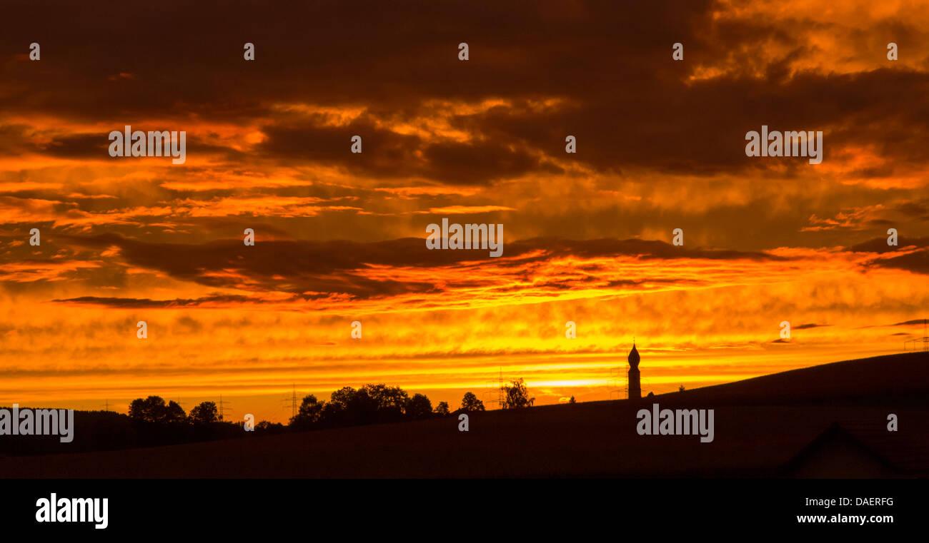 evening glow, Germany, Bavaria - Stock Image
