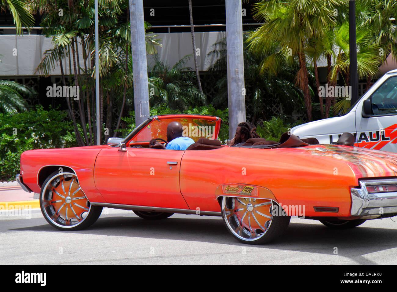 Miami Beach Florida Ocean Drive Black Man Driving Driver Customized Pimped Out Ride Hip Hop Car Convertible