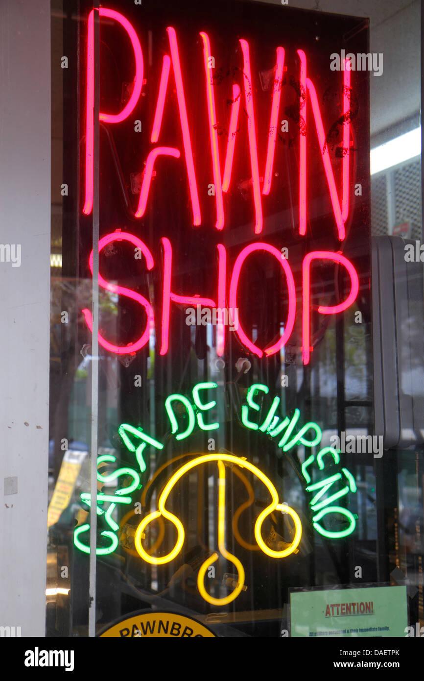 Miami Homestead Florida Washington Avenue pawn shop neon sign - Stock Image