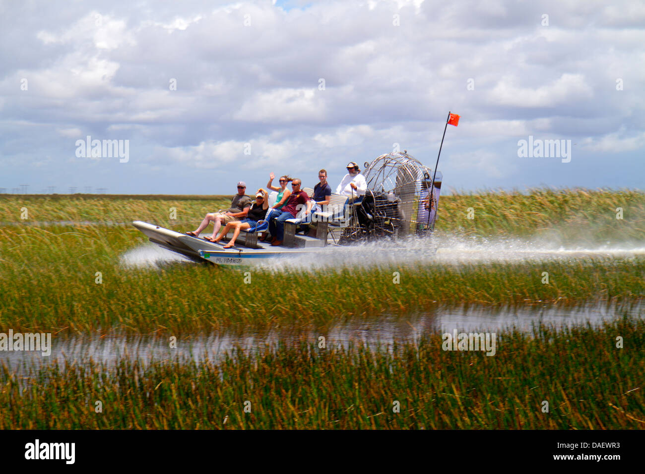 Fort Lauderdale Ft. Florida Weston Sawgrass Recreation Park Everglades riders airboat ride guide pilot freshwater - Stock Image