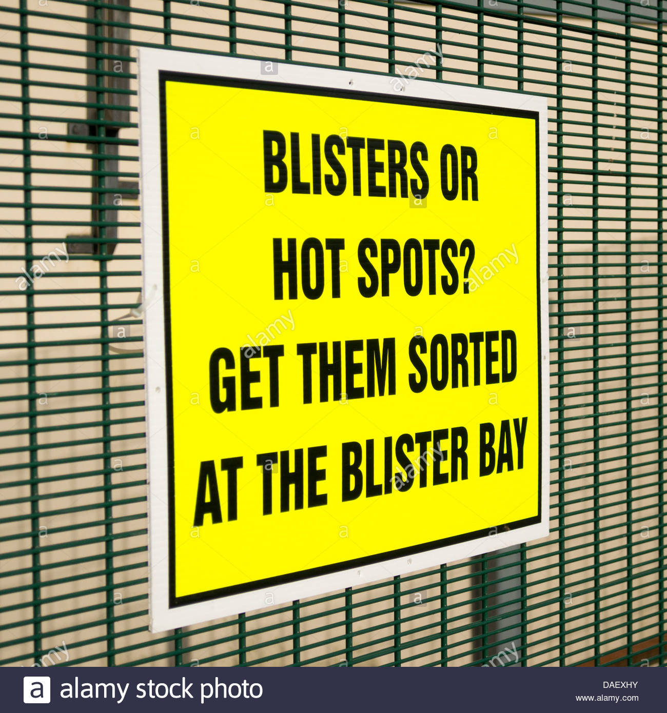Sign at a checkpoint on the transpennine walking challenge - Get Blisters Sorted - Stock Image